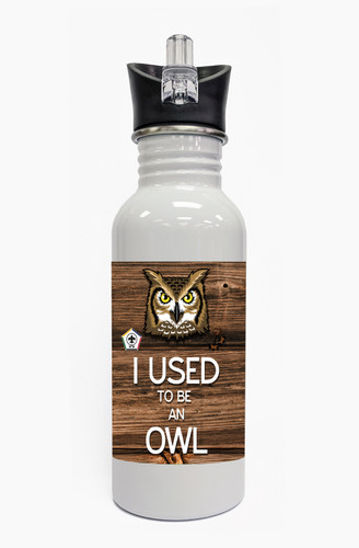 Wood Badge Water Bottle  with Wood Badge Owl Critter and Wood Badge Logo - Front View