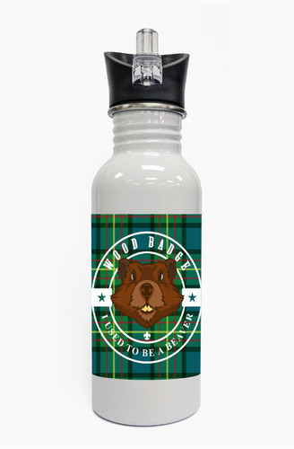 Wood Badge Water Bottle  with Wood Badge Beaver Critter on Wood Badge Tartan Background