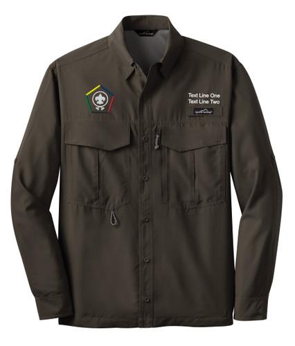 Eddie Bauer® – Long Sleeve Fishing Shirt  with Wood Badge Logo