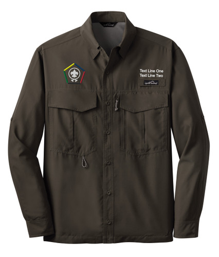 BSA Wood Badge Long Sleeve Fishing Shirt with Wood Badge Logo - Brown