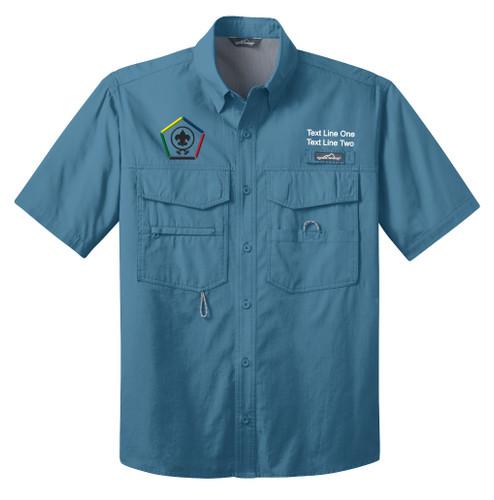 BSA Wood Badge Short Sleeve Fishing Shirt BSA Wood Badge Logo - Blue