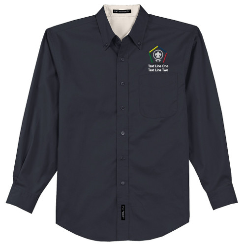 Port Authority® Long Sleeve Easy Care Shirt Men's with Wood Badge Logo