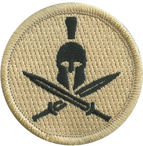 Spartan Helmet & Cross Swords Scout Patrol Patch - embroidered 2 inch round