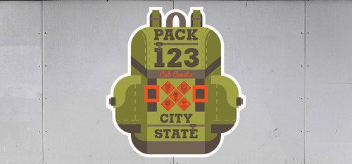 Cub Scout Pack Trailer Graphic With Backpack Design