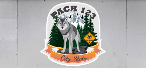 Cub Scout Pack Trailer Graphic With  Wolf Design