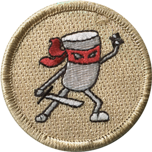 Marshmallow Ninja Scout Patrol Patch - embroidered 2 inch round