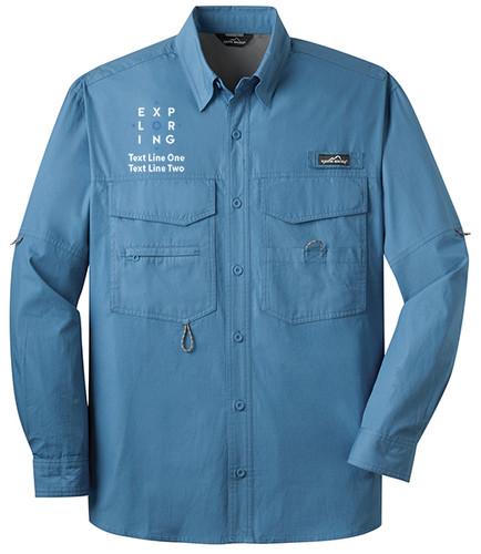 BSA Exploring Long Sleeve Fishing Shirts With Exploring Logo- Blue