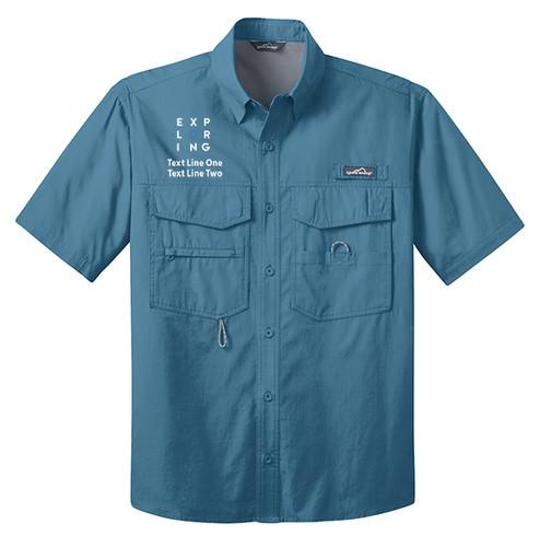 BSA Exploring Short Sleeve Fishing Shirts With Exploring Logo- Blue
