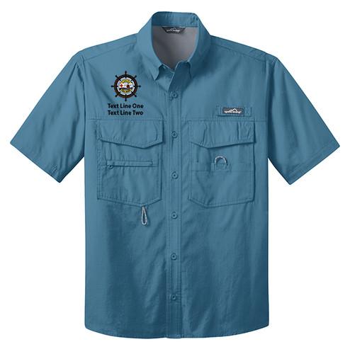 BSA Sea Base Short Sleeve Fishing Shirt with Sea Base Logo - Blue