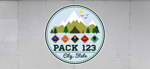 Cub Scout Pack Trailer Graphic With Cub Scout Ranks and Mountain Design