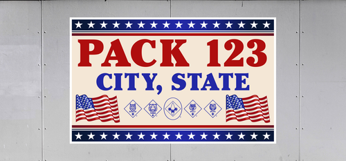 Cub Scout Pack Trailer Graphic With Waving Flags Design