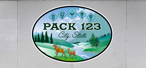Cub Scout Pack Trailer Graphic With Woodland Deer Design