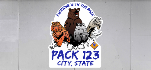 Cub Scout Pack Trailer Graphic With Running With The Pack Design