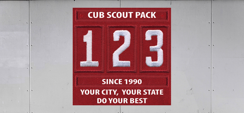 Cub Scout Pack Unit Numeral Trailer Graphic With City And State Information