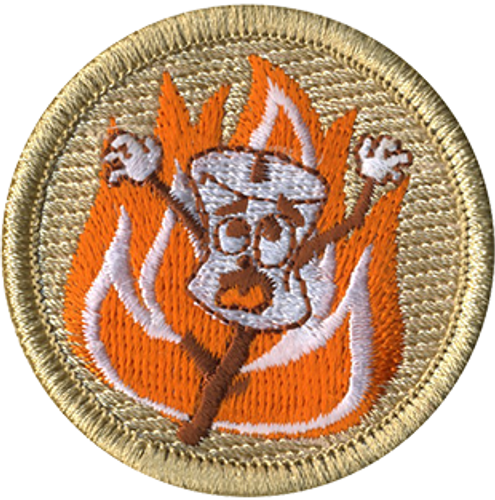 Roasted Marshmallow Scout Patrol Patch - embroidered 2 inch round