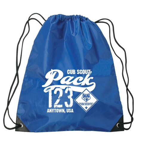 Cub Scout Pack Drawstring Bags with Cub Scout Logo -Royal Blue