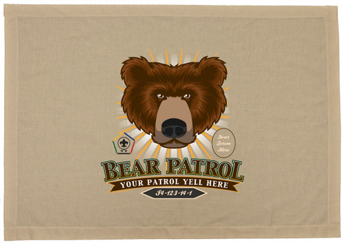 Custom Bear Wood Badge Star Burst Patrol Flag (SP DP5104)
