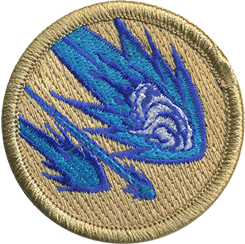 Blue Flamed Mashed Potato Asteroids  Scout Patrol Patch - embroidered 2 inch round