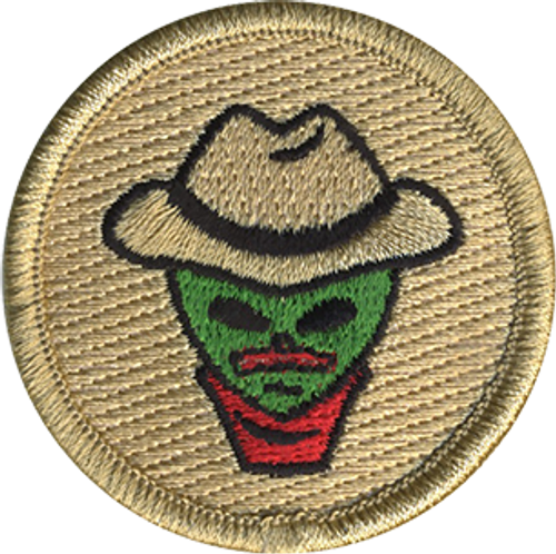 Mustached Cowboy Alien  Scout Patrol Patch - embroidered 2 inch round