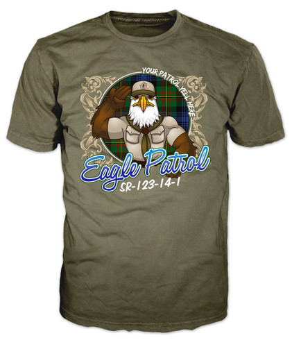 Wood Badge Shirt with Wood Badge Eagle on Wood Badge Tartan Background