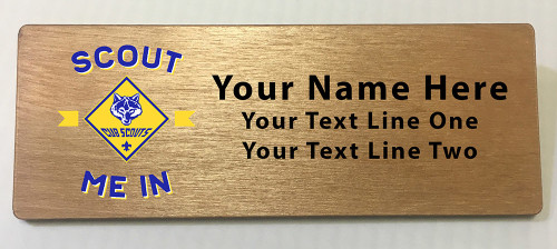 Cub Scout Pack Name Tag with Scout Me In Logo