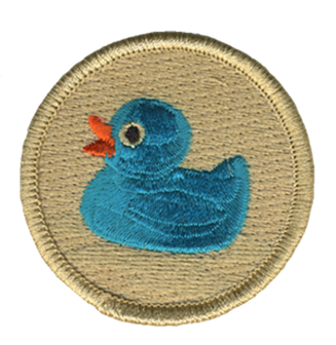 Blue Rubber Ducky Scout Patrol Patch - embroidered 2 inch round