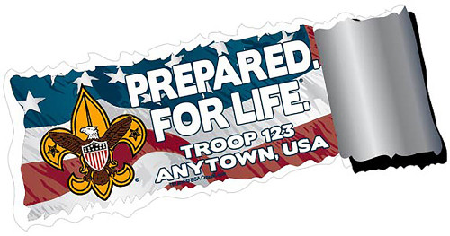 Scouts BSA Troop Sticker Pack with BSA Universal Logo and Prepared for Life Design