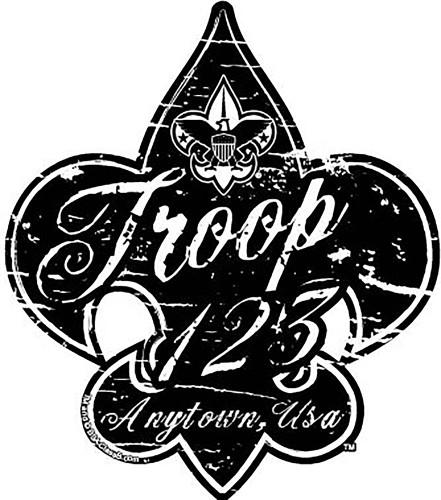 Custom Scouts BSA Troop Distressed Fleur De Lis Car Sticker (SP5429)