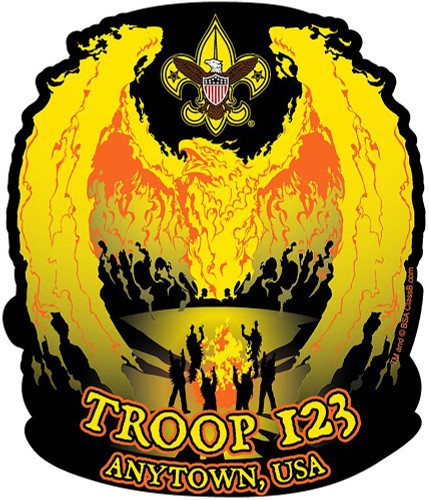 Custom Scouts BSA Troop Camp Fire Phoenix Car Sticker (SP5428)