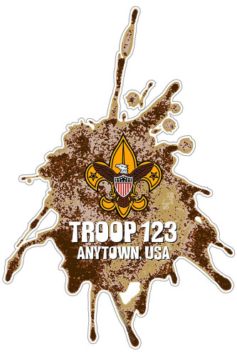 Custom Scouts BSA Troop Dirt Splatter Car Sticker (SP5432)