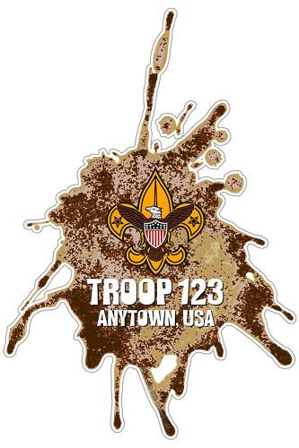 Custom Scouts BSA Troop Dirt Splatter Car Sticker (SP5432)