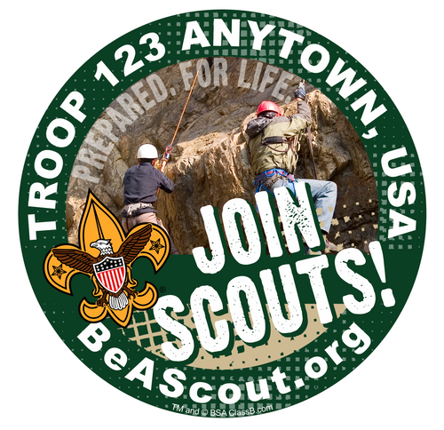 Scouts BSA Troop Sticker Pack with BSA Universal Logo and Join Scouts Design