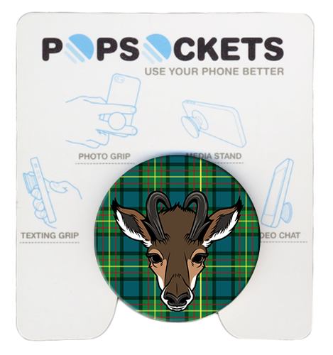 Wood Badge Popsocket of Wood Badge Antelope Critter on Wood Badge Tartan Background