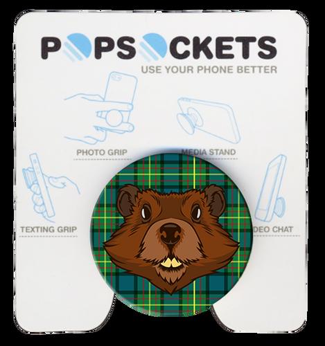 Wood Badge Popsocket of Wood Badge Beaver Critter on Wood Badge Tartan Background
