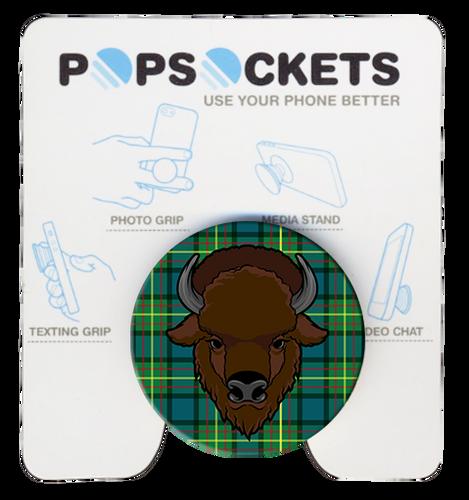 Wood Badge Popsocket of Wood Badge Buffalo Critter on Wood Badge Tartan Background