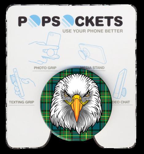 Wood Badge Popsocket of Wood Badge Eagle Critter on Wood Badge Tartan Background