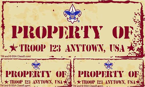 Scouts BSA Troop Sticker 8 pack - Property of Troop (SP5240)
