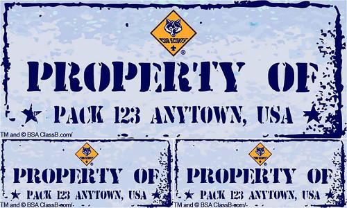 Custom Cub Scout Pack Property of Pack Car Sticker (SP5241)