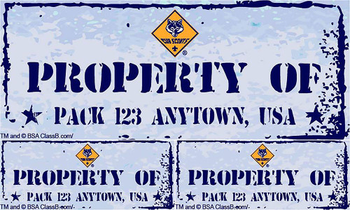 Cub Scout Pack Sticker Pack with Property Of Pack Design