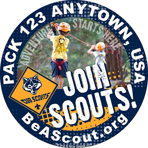 Cub Scout Pack Sticker With Join Scouts Design