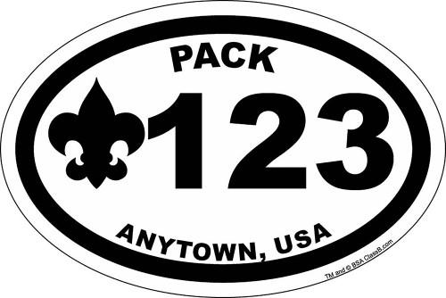 Cub Scout Pack Sticker Pack with BSA Fleur De Lis Design