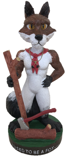 Wood Badge Bobblehead of Wood Badge Fox- Front View