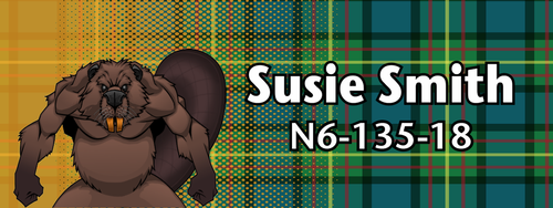 Wood Badge Name Tag with Wood Beaver Critter on Wood Badge Tartan Background