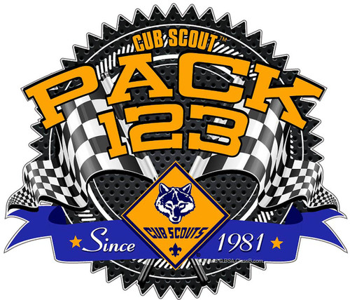 Cub Scout Pack Sticker Pack with Cub Scout Logo  and Race Gear Design