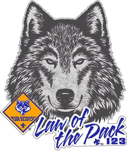 Custom Cub Scout Pack Akela Law of the Pack Car Sticker (SP5418)