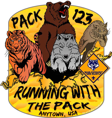 Cub Scout Pack Sticker Pack with Running With The Pack Design