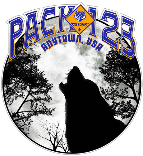 Cub Scout Pack Sticker Pack with Howling Wolf Design