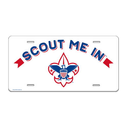Scouts BSA Troop License Plate with BSA Scout Me In Corporate Logo
