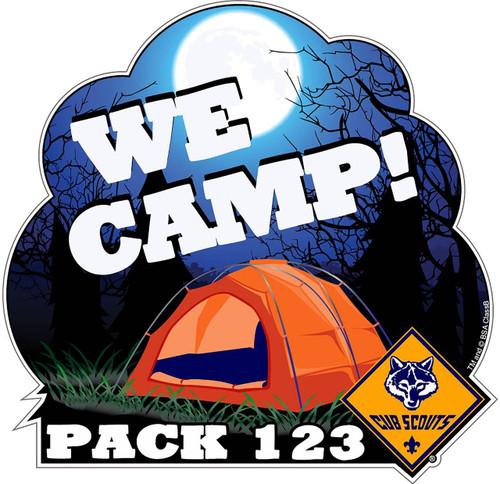 Custom Cub Scout Pack We Camp Car Sticker (SP5415)