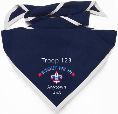 Troop Neckerchief with BSA Logo and Scout Me In Logo